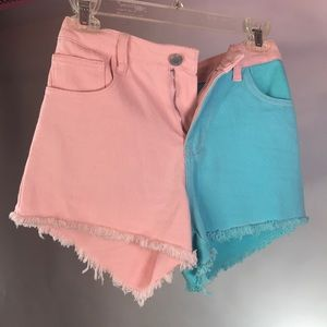 Pink and blue color block shorts prettylittlething
